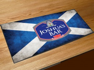 Personalised Scottish flag bar runner mat