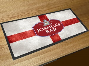 Personalised St Georges flag beer label bar runner mat