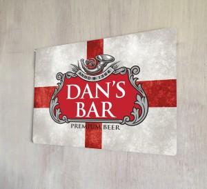 Personalised Beer Label St Georges Flag Sign