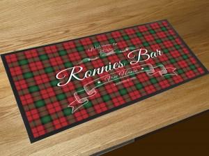 Personalised Welcome tartan bar runner mat