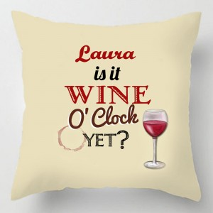 Personalised Wine O'clock cushion