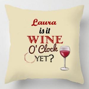 Personalised Wine O'clock cushion