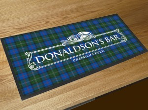 Personalised Tartan white beer label bar runner mat