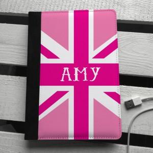 Pink union jack personalised ipad mini case