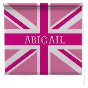 Pink personalised union jack printed blind