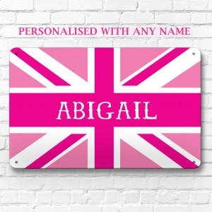 Personalised pink union jack metal door wall sign