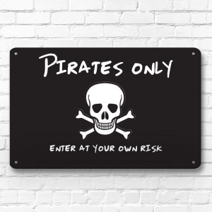 Pirates Only - children's door room metal sign