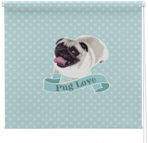 Pug dog Love printed blind