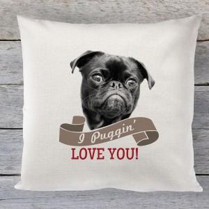 I Puggin Love you, valentines linen cushion