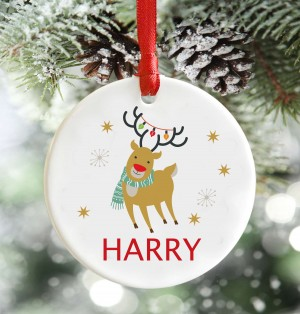 Personalised Childrens Reindeer decoration