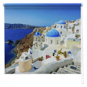 Santorini, Greece seascape printed blind