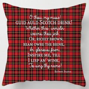 Scotch drink Whisky, Burns poem tartan cushion