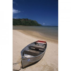 Beach boat canvas art