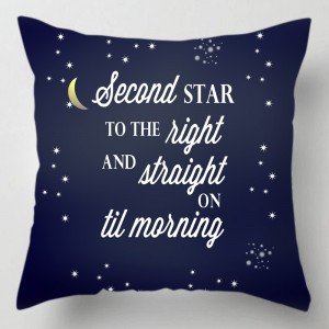 Second star to the right peter pan quote cushion