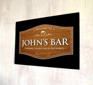Personalised welcome wood effect bar pub sign