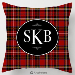 Personalised Monogram red Tartan cushion