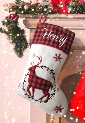 Personalised Christmas Deluxe Stocking, Tartan Reindeer