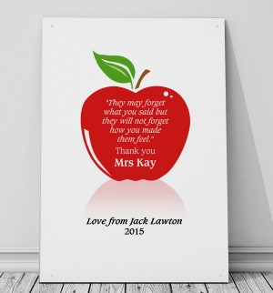 Personalised Teachers apple quote metal sign