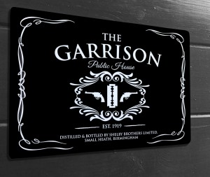 The Garrison public house black sign