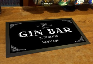 Gin Bar runner black vintage style bar mat