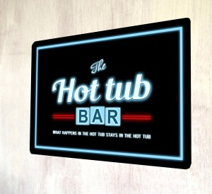 Hot Tub neon lights effect metal sign