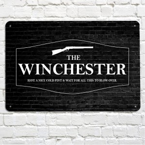 THe winchester pub black metal sign