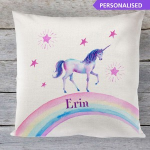 Personalised Unicorn rainbow childrens linen cushion