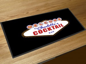 Personalised Cocktail vegas style bar runner mat