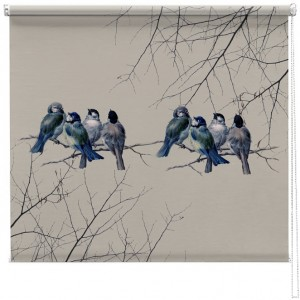 Vintage Bluebirds printed blind