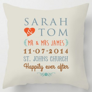 Personalised wedding names/words cushion