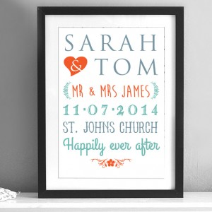 Personalised wedding names print