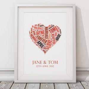 Personalised wedding word art print