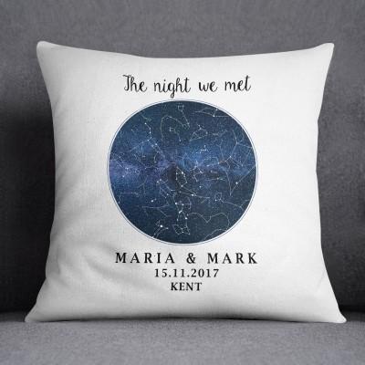 Custom Star Map Cushion Night Sky Wedding Gift Valentines Anniversary Personalised Birthday
