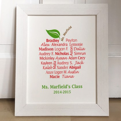 Personalised teachers class words apple print