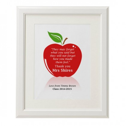Personalised teachers quote apple print