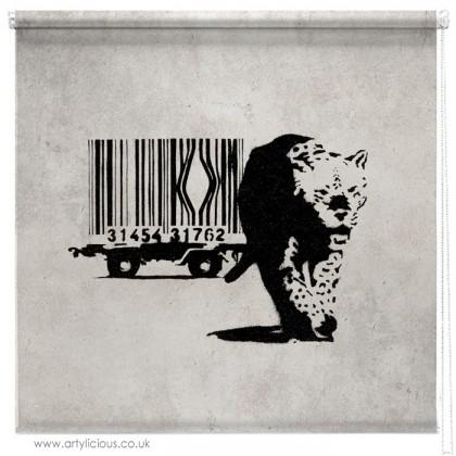 Banksy barcode leopard printed blind