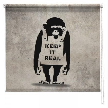 Banksy graffiti printed blind Chimp