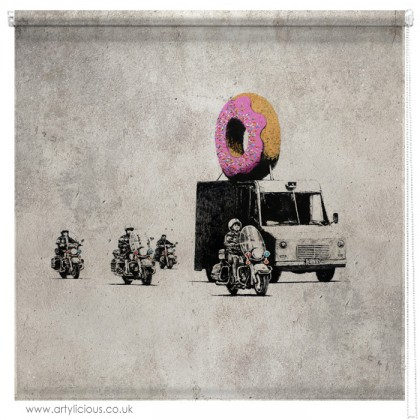 Banksy Doughnut security printed blind