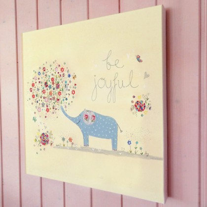 Be Joyful elephant illustration canvas print