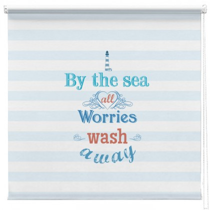 By the Sea quote printed blind