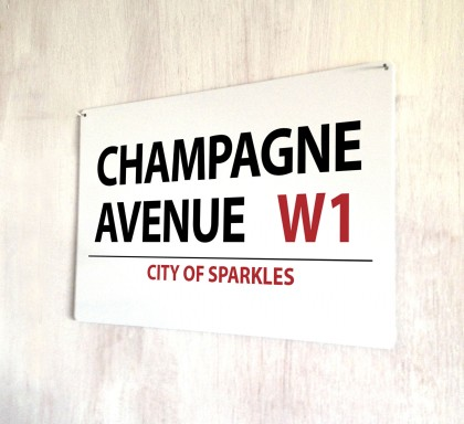 Champagne Avenue metal street Sign