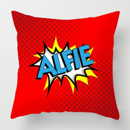 Personalised comic style cushion