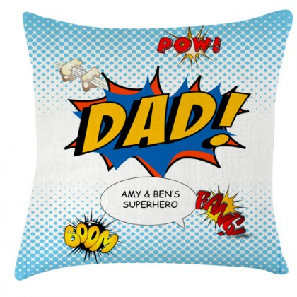 Personalised Dad superhero cushion