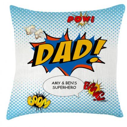 Personalised Dad superhero cushion