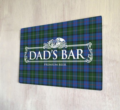 Dad's Bar Tartan Beer Label Sign