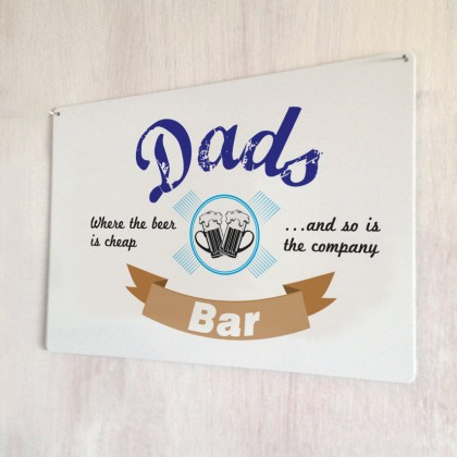 Dad's Bar Cheap Beer Metal Sign