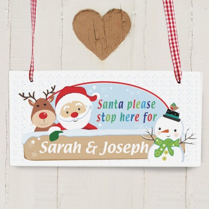 Santa Stop Here personalised Christmas Sign