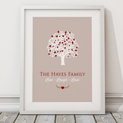Personalised Family tree live laugh love print / canvas