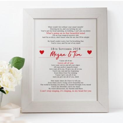 Personalised First Dance Wedding Lyrics wedding gift print