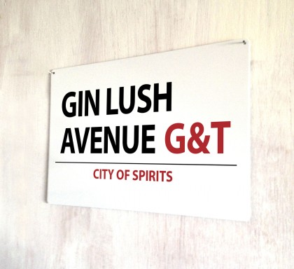 Gin Lush Avenue metal street Sign